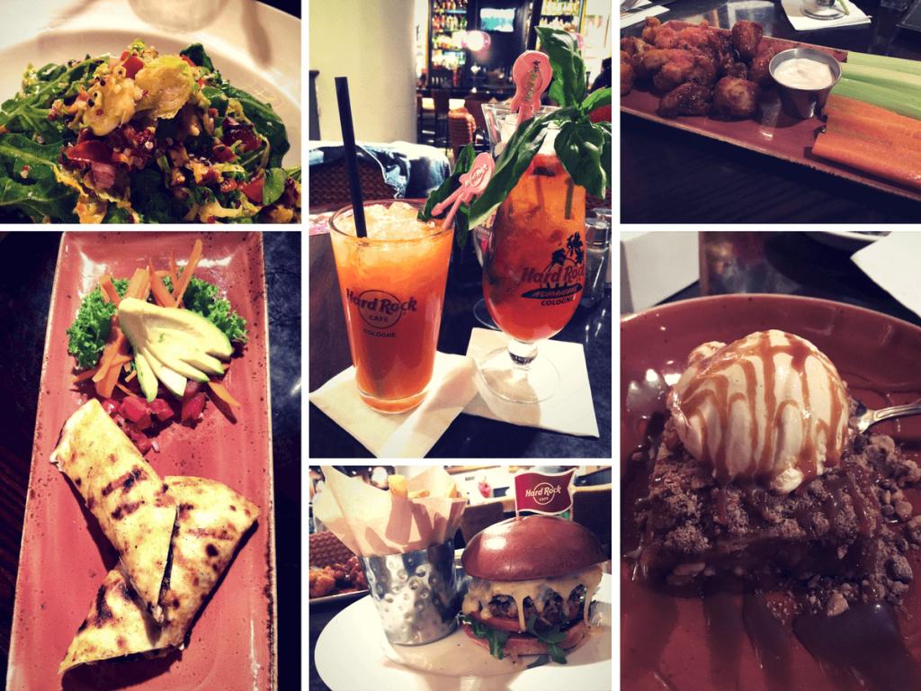 Collage mit allen Gerichten des vegetarischen Menus im Hard Rock Cafe Köln