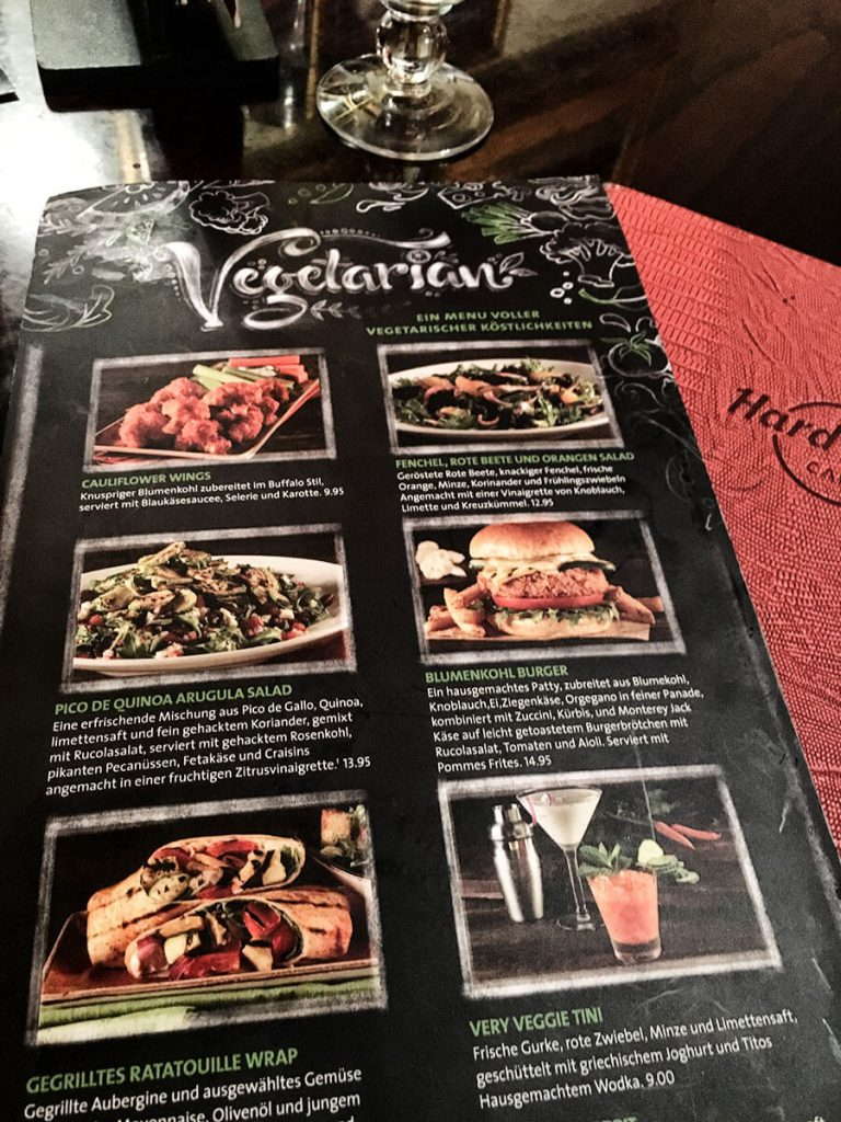 Vegetarische Speisekarte im Hard Rock Cafe