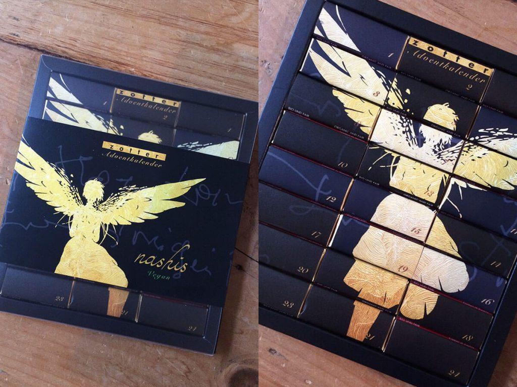 Zotter Nashis veganer Adventskalender Verpackung mit goldenem Engel