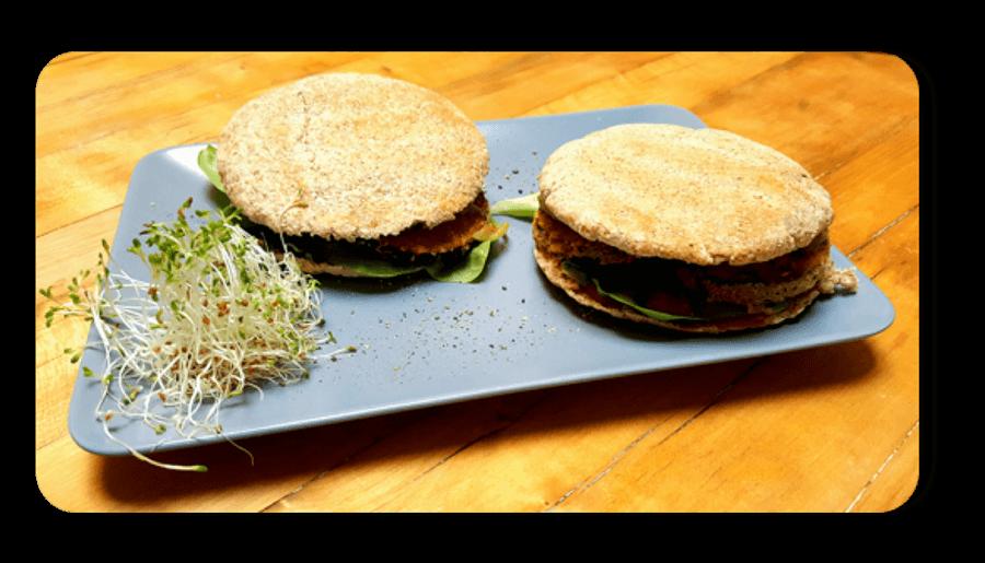 Veganer Auberginen Burger