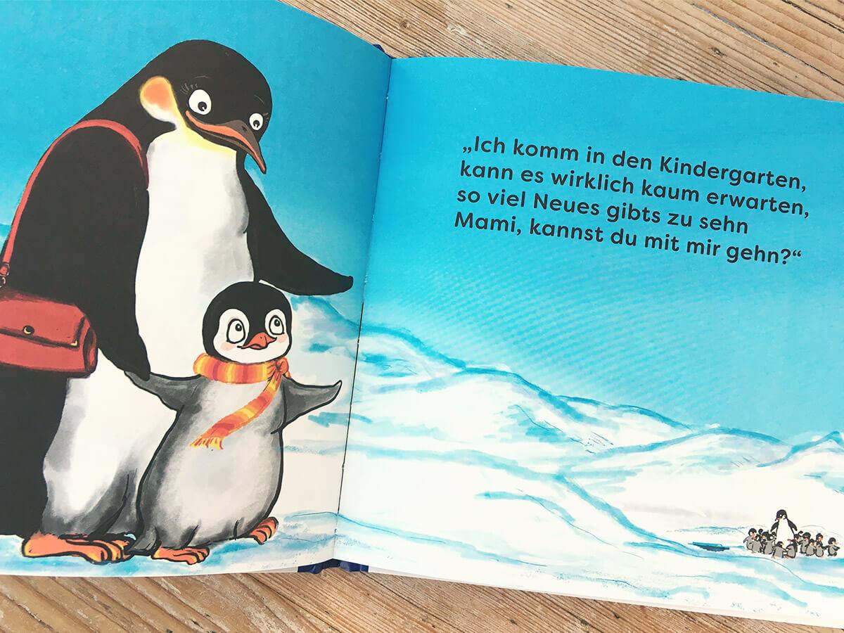 Blick ins das Kinderbuch Flim Pinguin im Kindergarten