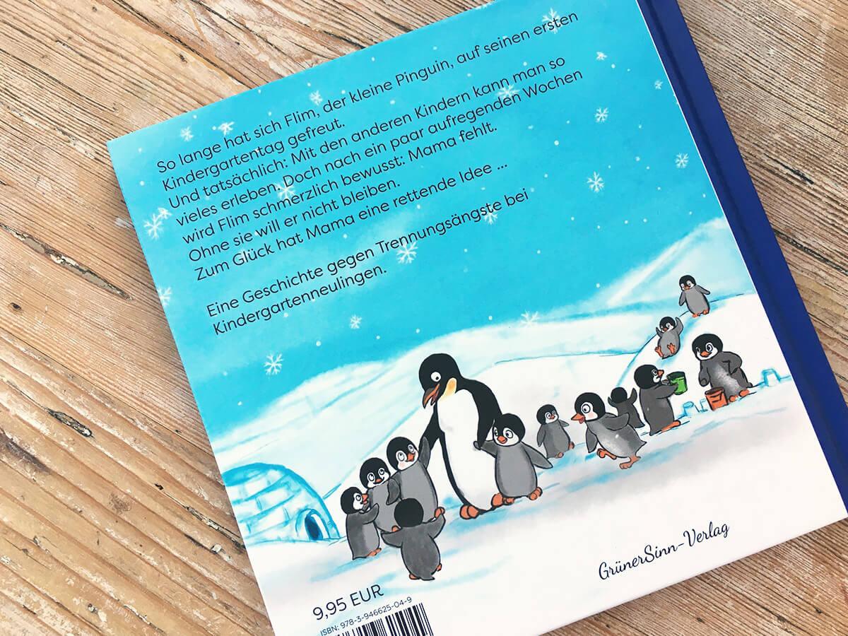 Flim Pinguin im Kindergarten - Buchrückseite