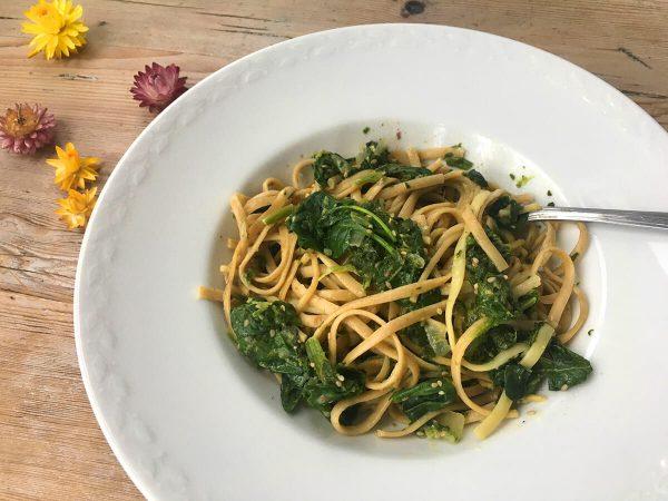 Spaghetti mit Spinat