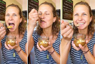 Anna schlemmt den veganen Pfirsich Nuss Kuchen