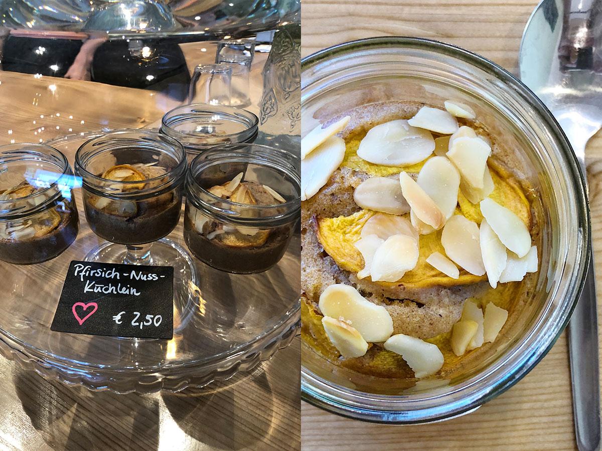 Pfirsich Nuss Küchlein im Glas